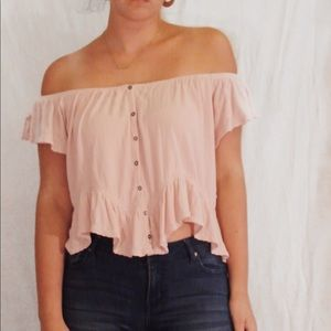 Free People Pink off-the-shoulder button Top